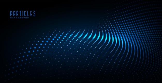Fundo de tecnologia digital de onda de partículas brilhante