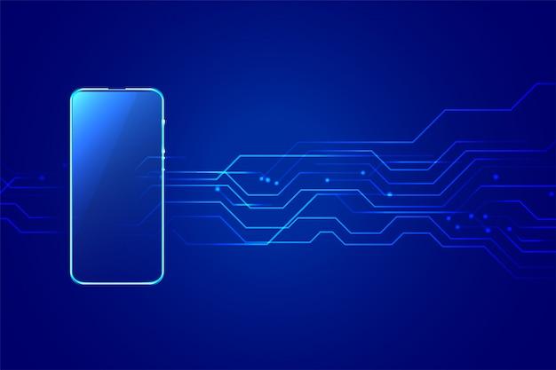 Fundo de tecnologia digital smartphone móvel com diagrama de circuitos