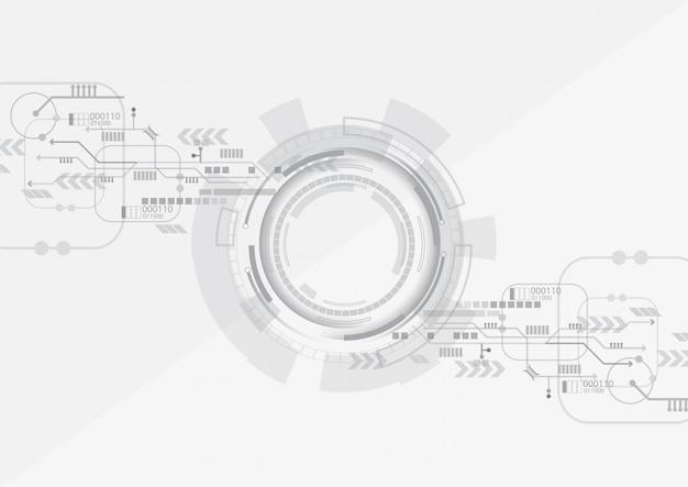 Fundo de tecnologia do círculo cinzento