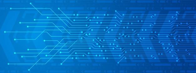 Fundo de tecnologia fundo de movimento de seta digital de linha de energia digital de placa de circuito azul