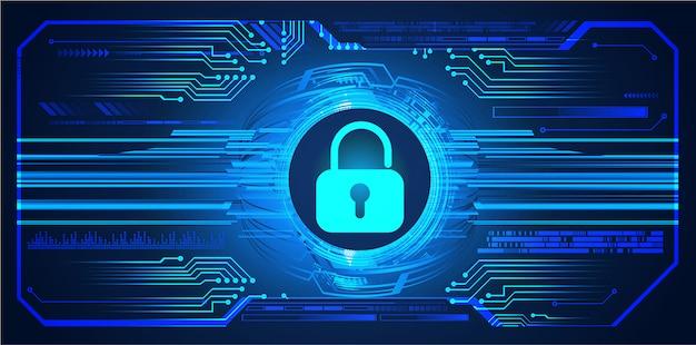 Fundo de tecnologia futura azul hud cyber circuito, cadeado fechado, chave
