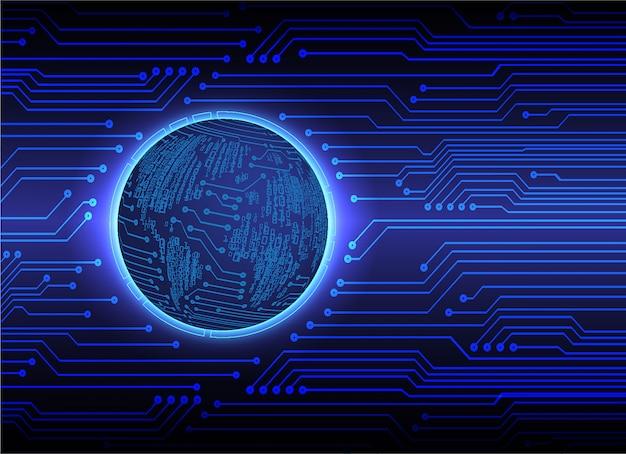 Fundo de tecnologia futura do mundo azul cyber circuito