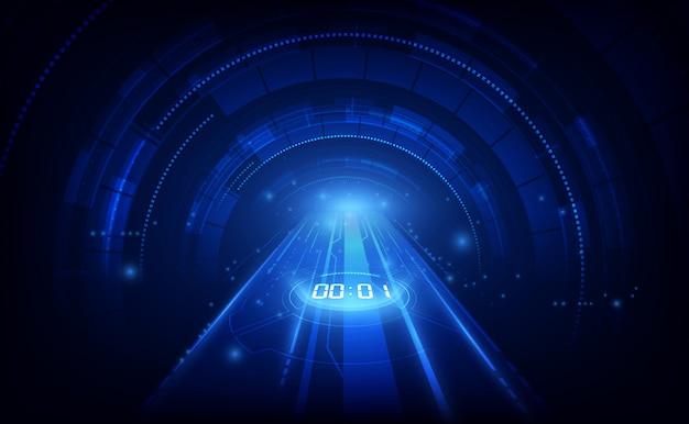 Fundo de tecnologia futurista abstrata com conceito de temporizador de número digital e contagem regressiva