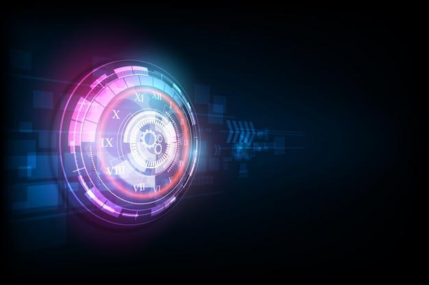 Fundo de tecnologia futurista abstrata com relógio e máquina do tempo