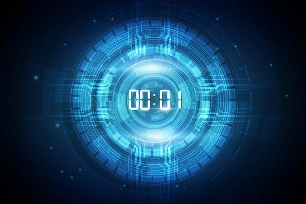 Fundo de tecnologia futurista abstrata com temporizador de número digital e contagem regressiva