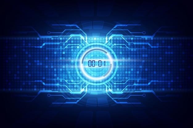 Fundo de tecnologia futurista abstrata com temporizador digital número