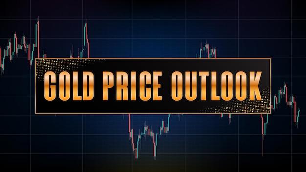 Fundo de tecnologia futurista abstrato de futuros de ouro on-line e indicador de volume de gráfico de mercado