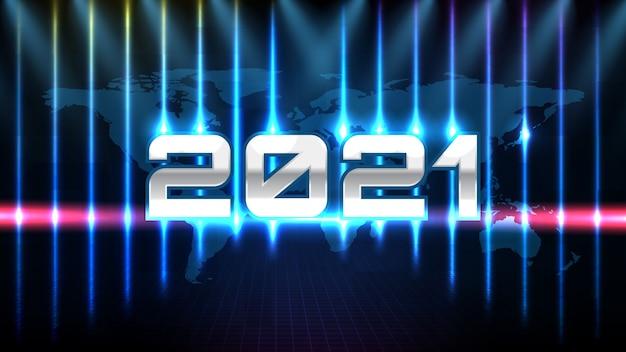 Fundo de tecnologia futurista abstrato de texto de ano 2021 de metal azul e luz de palco