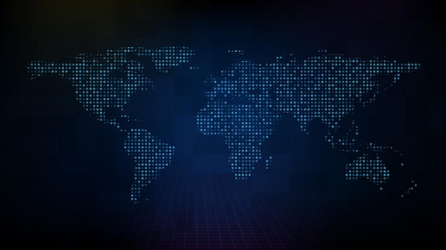 Fundo de tecnologia futurista abstrato do mapa-múndi digital azul