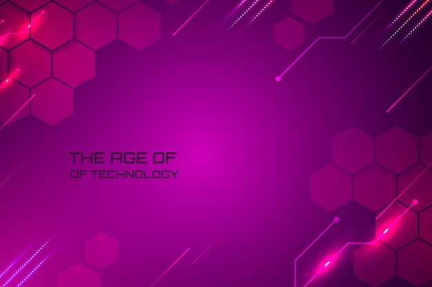 Fundo de tecnologia geométrica roxa