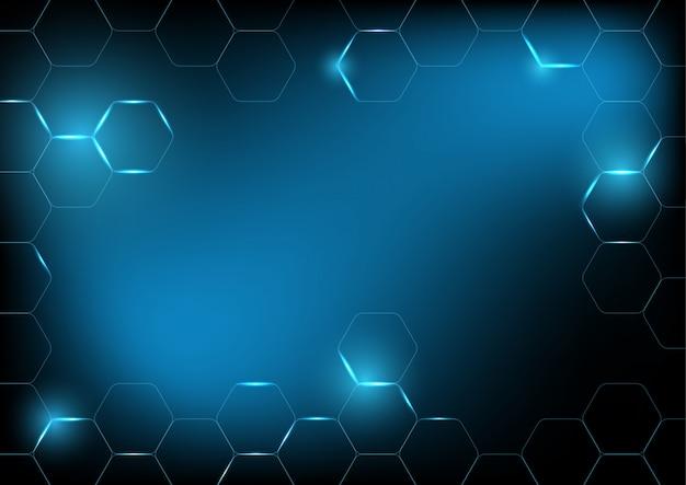 Fundo de tecnologia hexágono azul