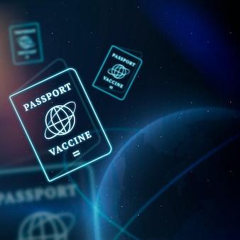 Fundo de tecnologia inteligente de vetor de fronteira de passaporte de vacina covid-19 em azul