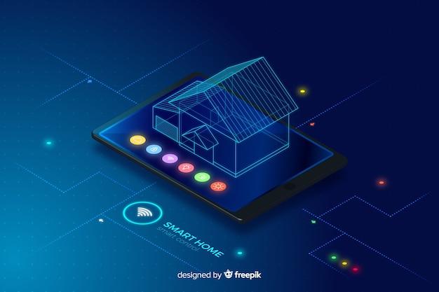 Fundo de tecnologia isométrica casa inteligente gradiente