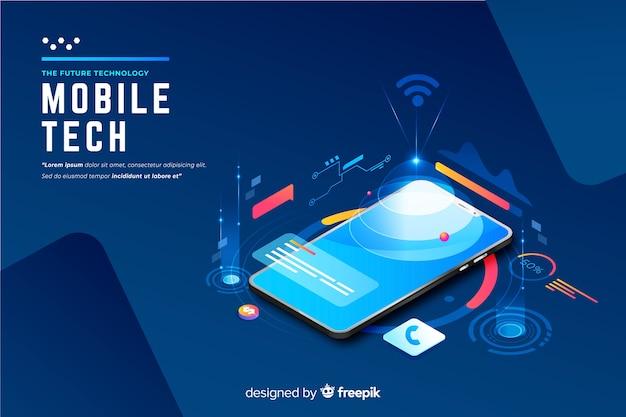 Fundo de tecnologia isométrica de smartphone gradiente