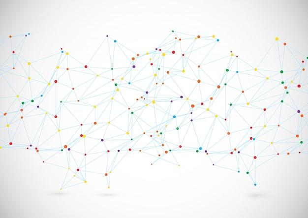 Fundo de tecnologia moderna com linhas e pontos de conexão