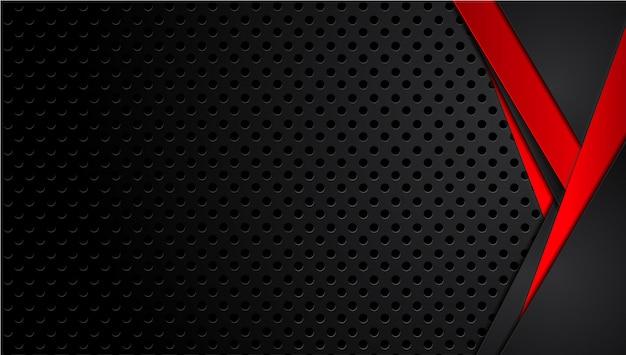 Fundo de tecnologia moderna de layout de quadro preto vermelho metálico