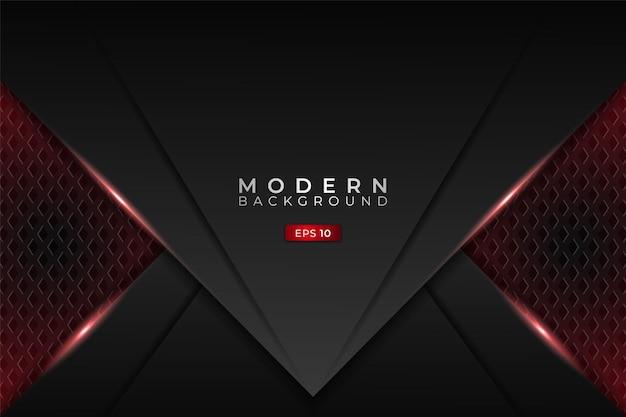Fundo de tecnologia moderna metálico 3d futurista para jogos com brilho vermelho