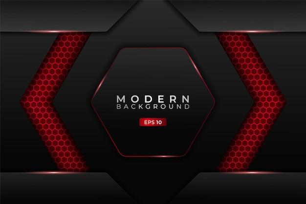 Fundo de tecnologia moderna metálico 3d hexágono futurista para jogos brilhante vermelho