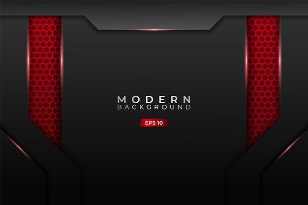 Fundo de tecnologia moderna metálico 3d hexágono realista brilho vermelho