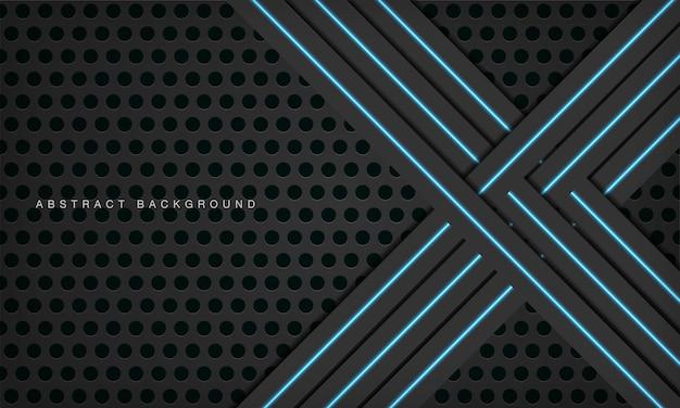 Fundo de tecnologia preto de dimensão 3d abstrata com decoração de luz azul