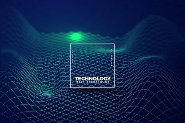 Fundo de tecnologia verde ondulado