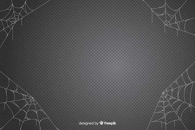 Fundo de teia de aranha de halloween em tons de cinza