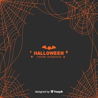 Fundo de teia de aranha laranja de halloween