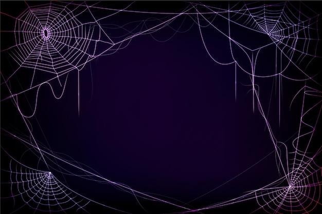 Fundo de teia de aranha neon de halloween