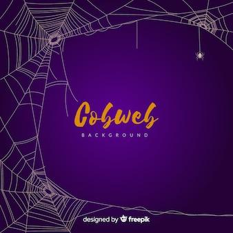 Fundo de teia de aranha roxo halloween