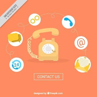 Fundo de telefone com ícones de contacto