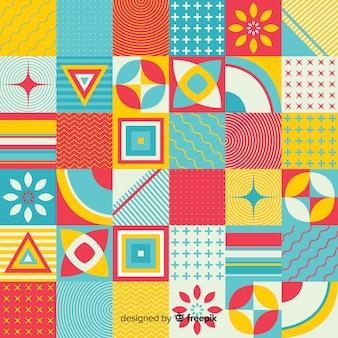 Fundo de telha de mosaico geométrico colorido
