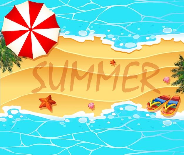Fundo de tema de verão com praia e mar