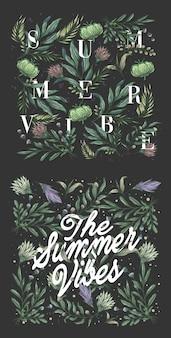 Fundo de tema de vibrações de verão com vintage floral