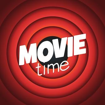 Fundo de tempo de filme de vetor com cortinas vermelhas de cinema e luzes do projetor. pano de fundo do filme com texto local.