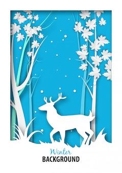 Fundo de temporada de inverno com cervos brancos na selva de neve e arte de papel