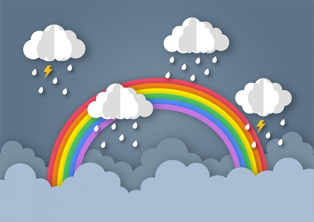Fundo de temporada de monção feliz. arco-íris no chuvoso. estilo de arte em papel.