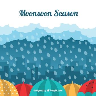 Fundo de temporada de monções com chuva