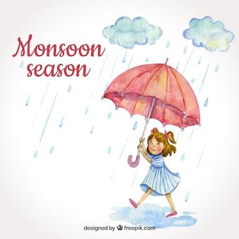 Fundo de temporada de monções com garota