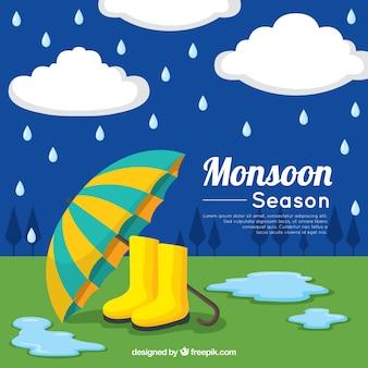 Fundo de temporada de monções com guarda-chuva e botas