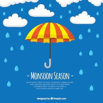 Fundo de temporada de monções com guarda-chuva