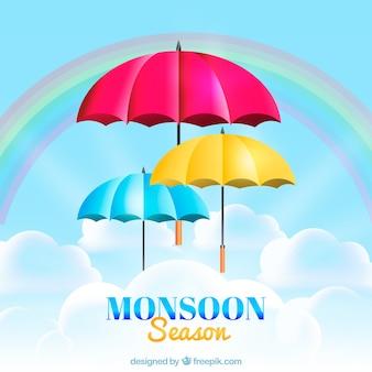 Fundo de temporada de monções com guarda-chuvas coloridos