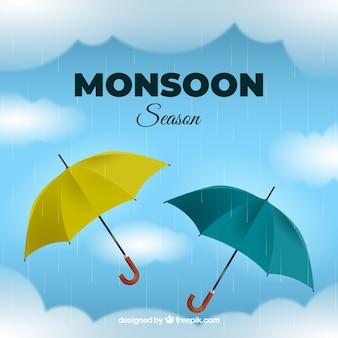 Fundo de temporada de monções com guarda-chuvas realistas
