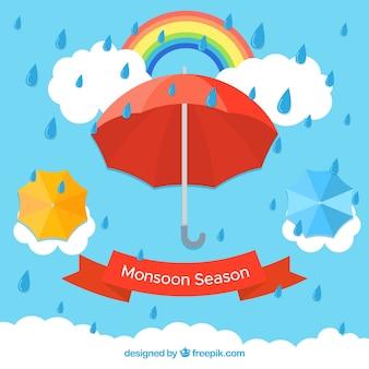 Fundo de temporada de monções com guarda-chuvas