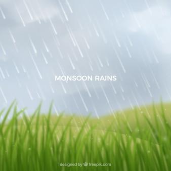 Fundo de temporada de monções com paisagem
