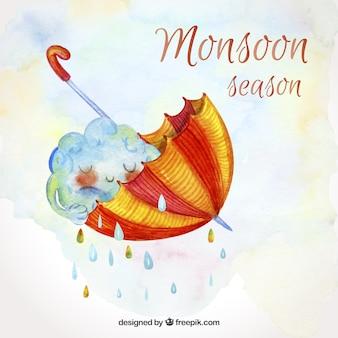 Fundo de temporada de monções em estilo aquarela