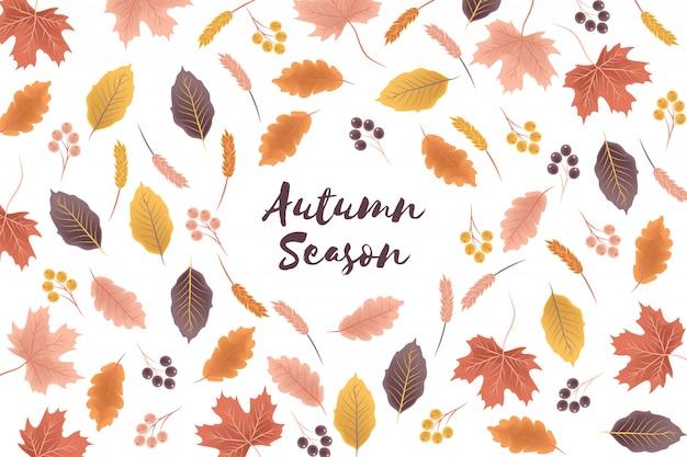 Fundo de temporada outono com ilustração de folhas de outono