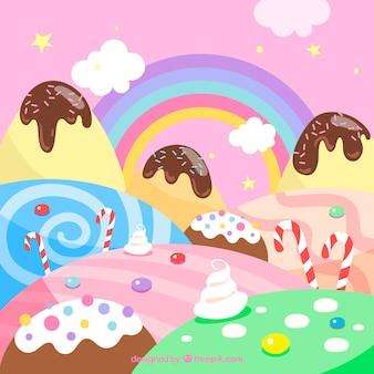Fundo de terra de doces coloridos na mão desenhada estilo