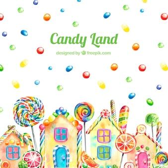 Fundo de terra de doces em estilo aquarela