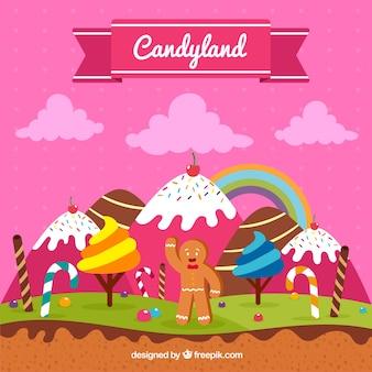 Fundo de terra doce doce em estilo simples