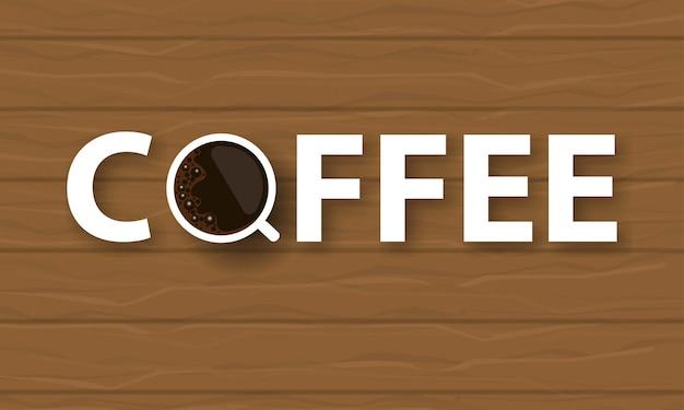 Fundo de texto de café com uma xícara de café
